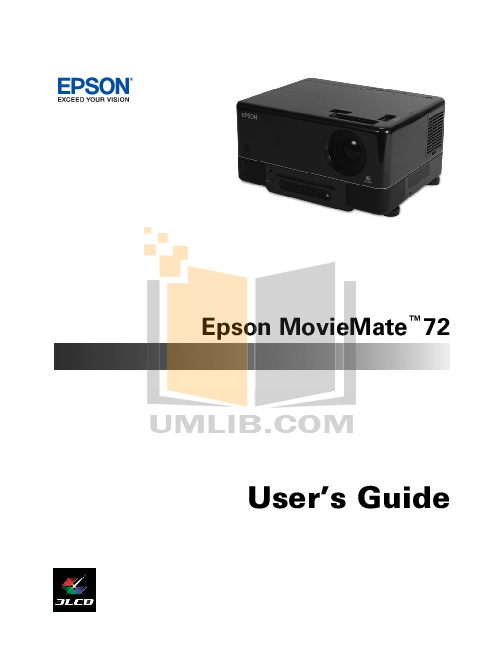 pdf for Epson Projector MovieMate 62 manual