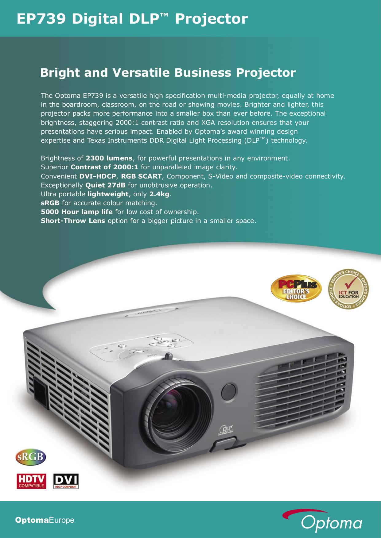 pdf for Optoma Projector EP739 manual