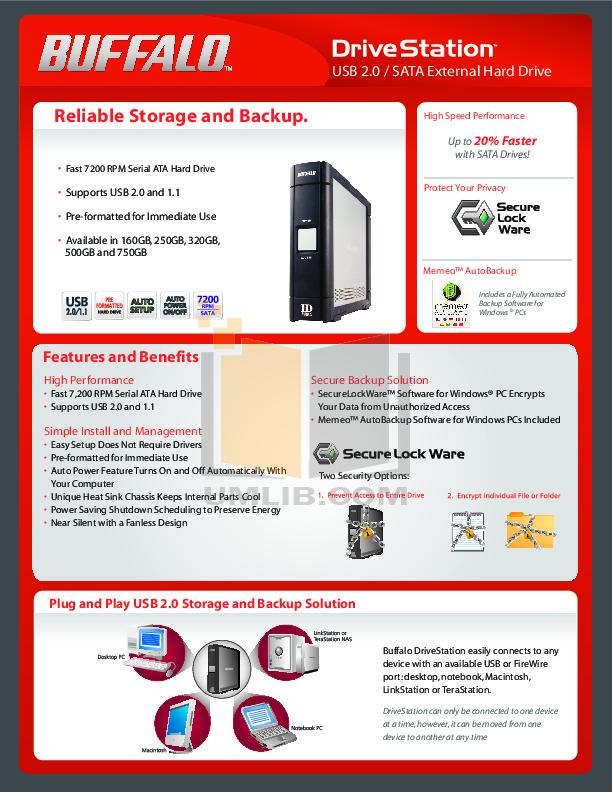 pdf for Buffalo Storage HD-HC500U2 manual