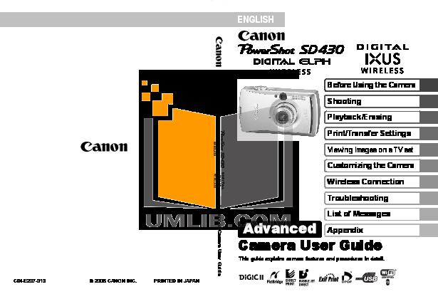 pdf for Canon Digital Camera Powershot SD430 manual