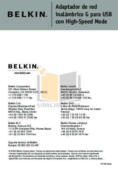 pdf for Belkin Router F5D7051 manual