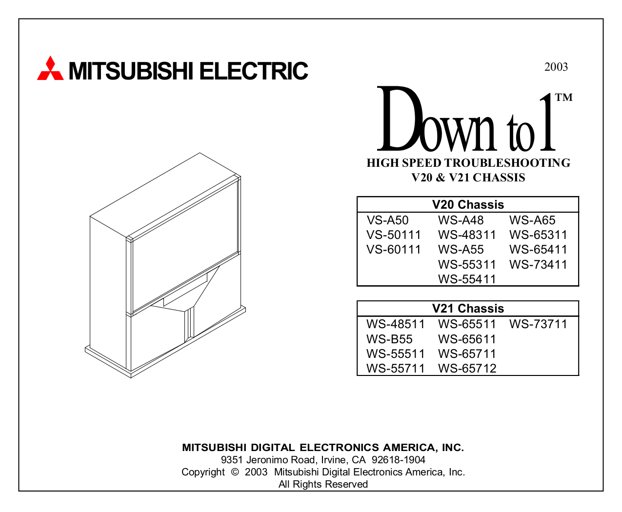Download Free Pdf For Mitsubishi Ws 65511 Tv Manual
