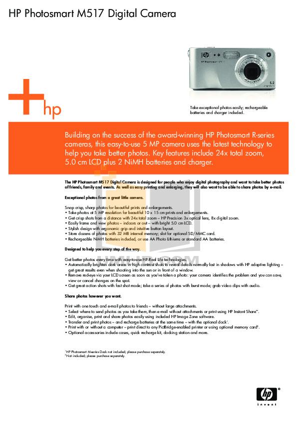 pdf for HP Digital Camera Photosmart M517 manual