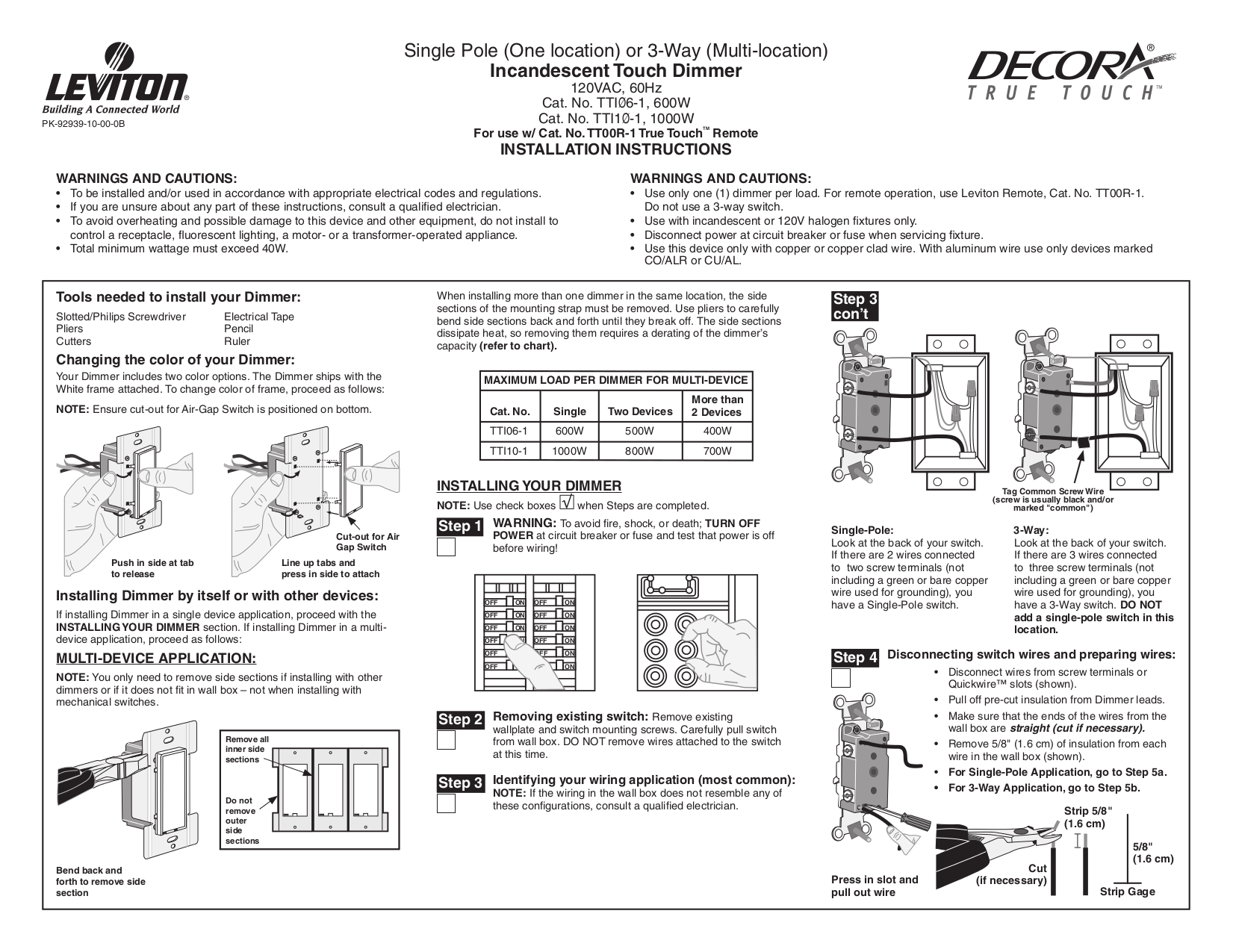 Download Free Pdf For Leviton Tti06 1 Dimmers Other Manual Rule Three Way Switch Wiring