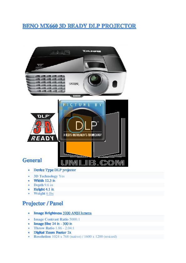pdf for Benq Projector MX660 manual