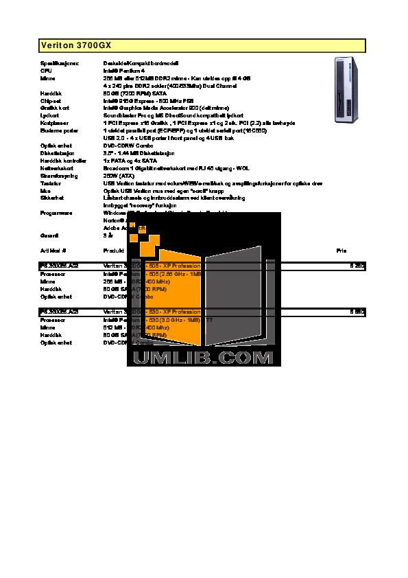 Acer Desktop Veriton 3700GX pdf page preview