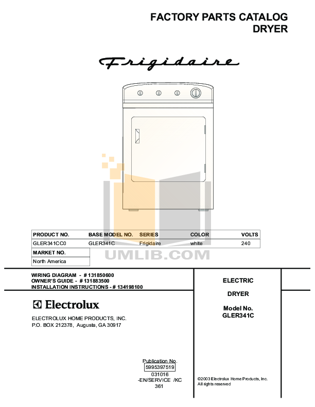 pdf for Frigidaire Dryer GLER341CC0 manual