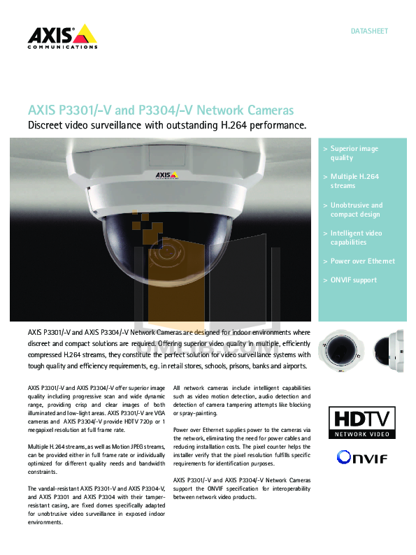 pdf for Axis Security Camera P3301 manual