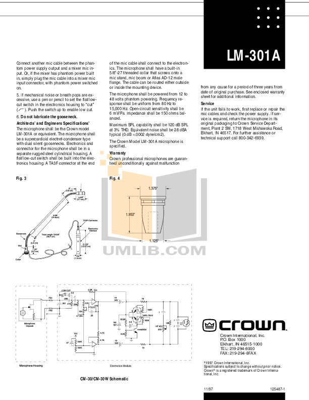 pdf for Crown Other LM-301A Microphones manual