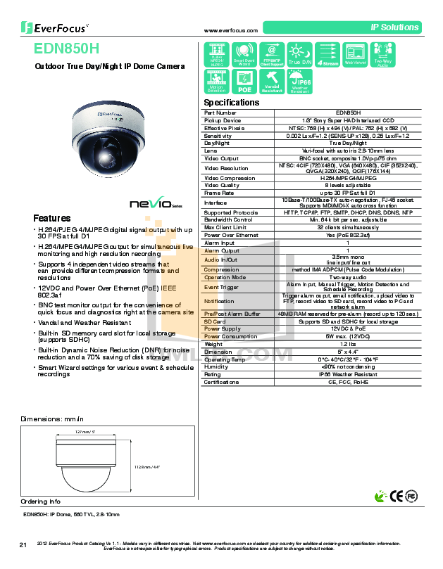 pdf for EverFocus Security Camera EDN850H manual