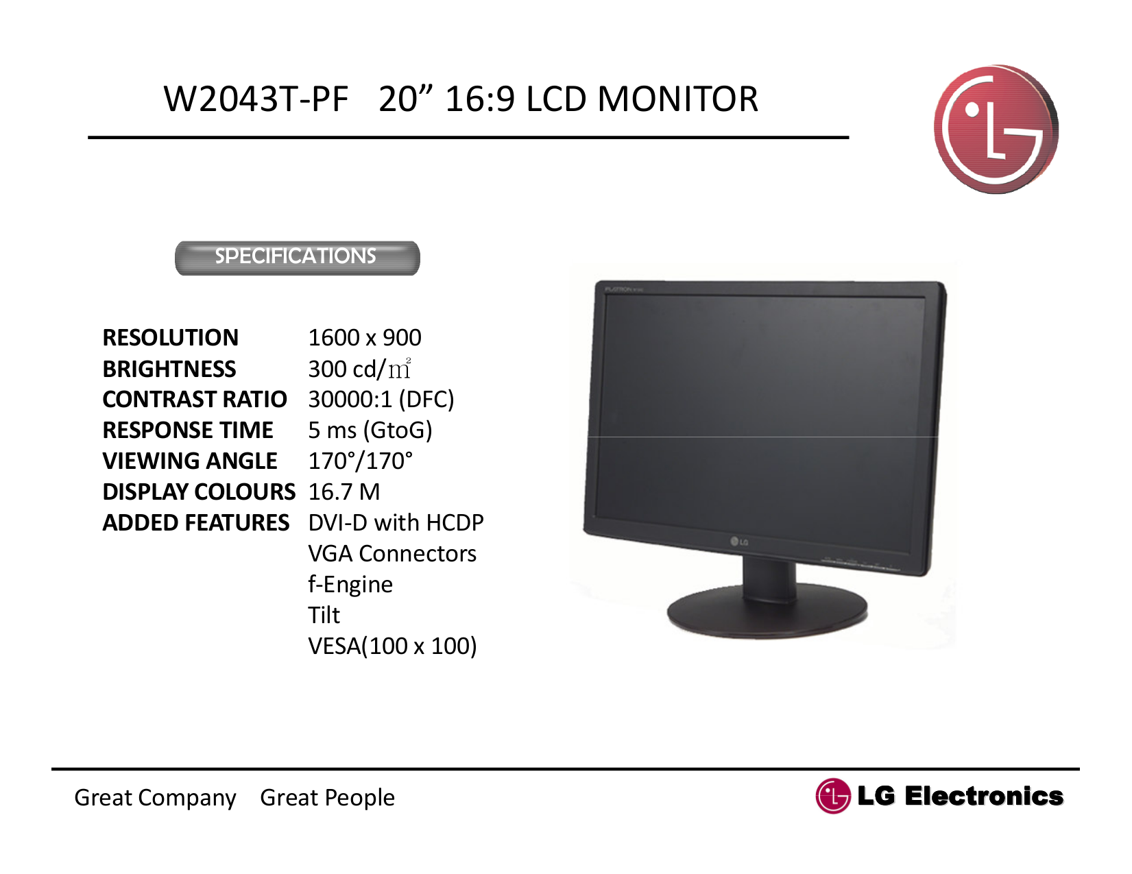 pdf for LG Monitor W2043T manual