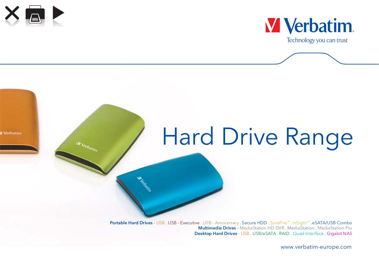 pdf for Verbatim Storage SureFire 500GB manual