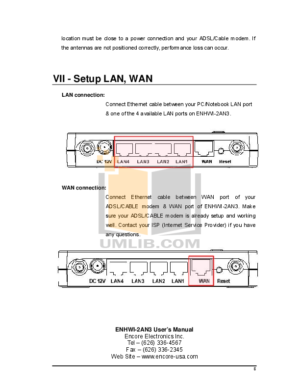 Encore Wireless Router ENHWI2AN3 pdf page preview