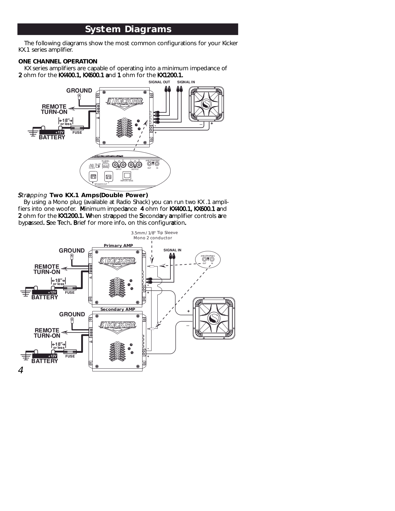 Pdf Manual For Kicker Car Amplifier Kx4002 Wiring Diagram Amp Page Preview