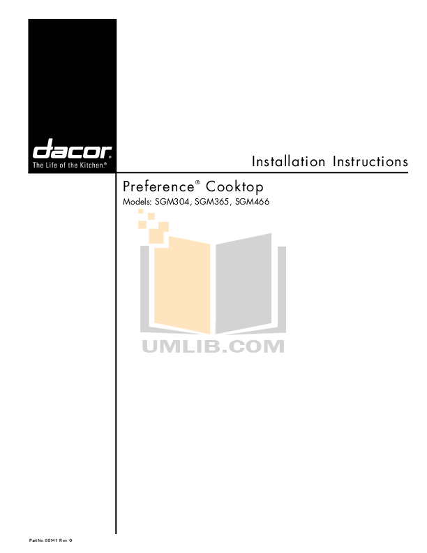 pdf for Dacor Range Preference SGM466S manual