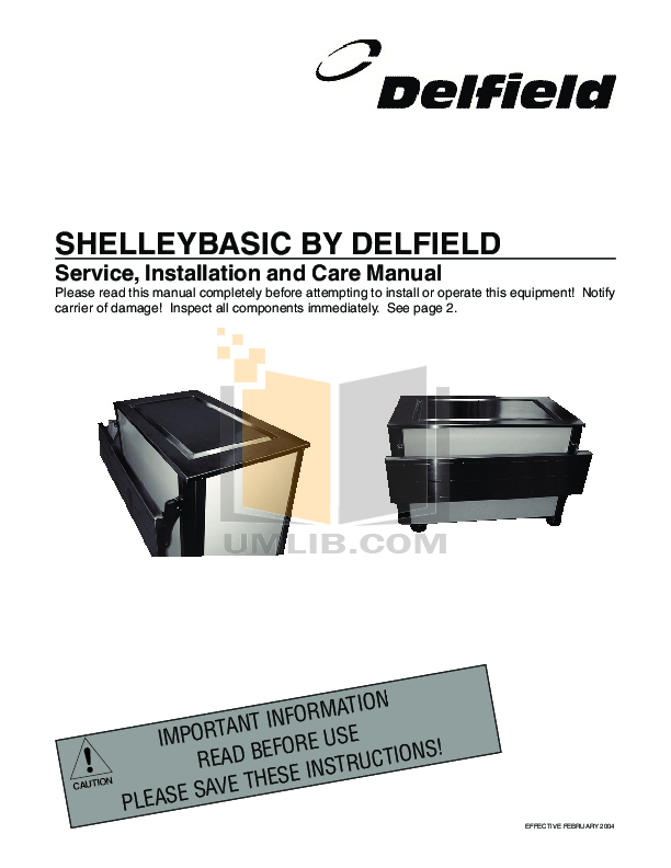 pdf for Delfield Refrigerator SE-F2 manual