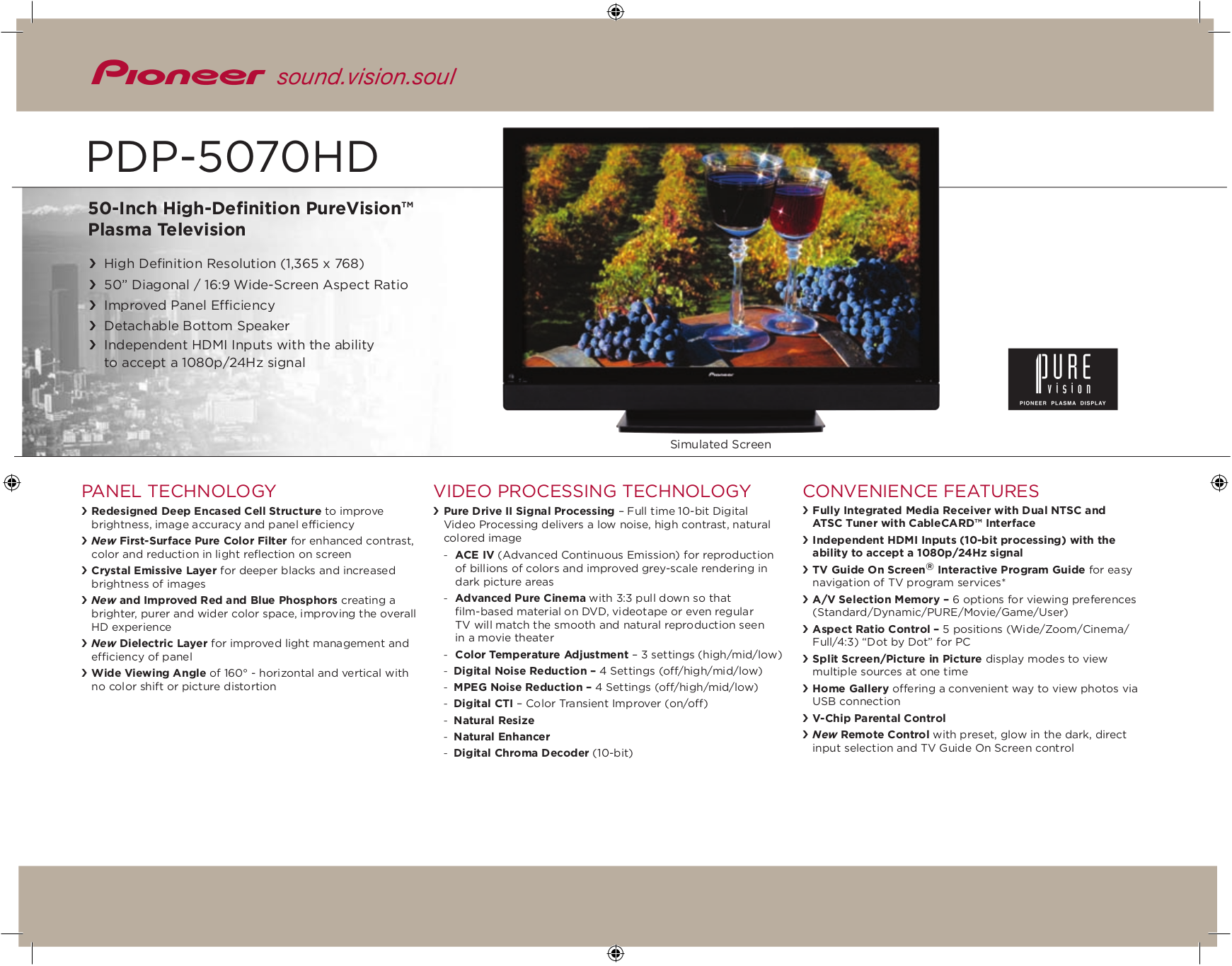 download free pdf for pioneer pdp 5070hd tv manual rh umlib com Atari Climber Manual 2600 Pioneer Spec 1