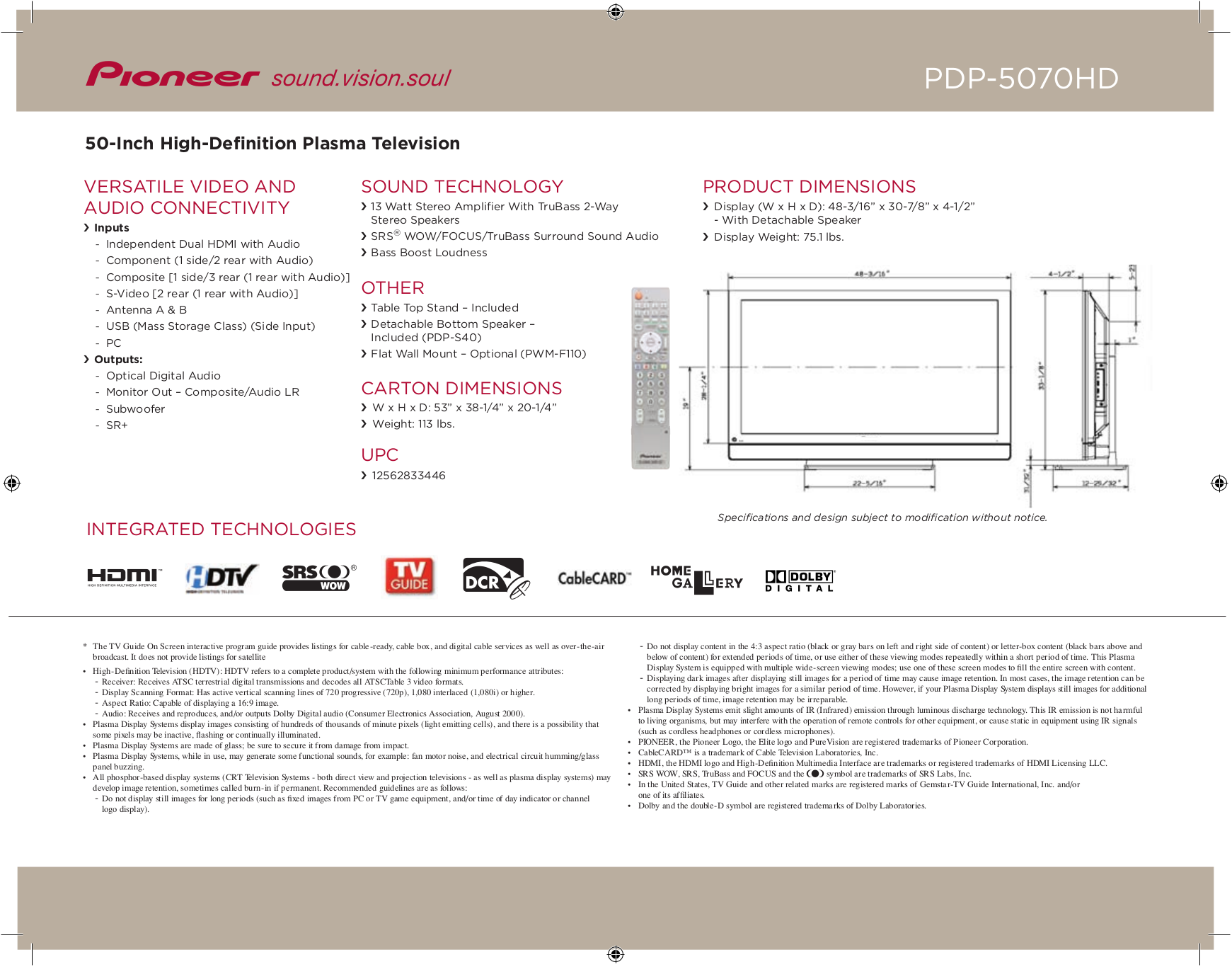pdf manual for pioneer tv pdp 5070hd rh umlib com Pro-Form 955R Owner's Manual Pioneer Man Working