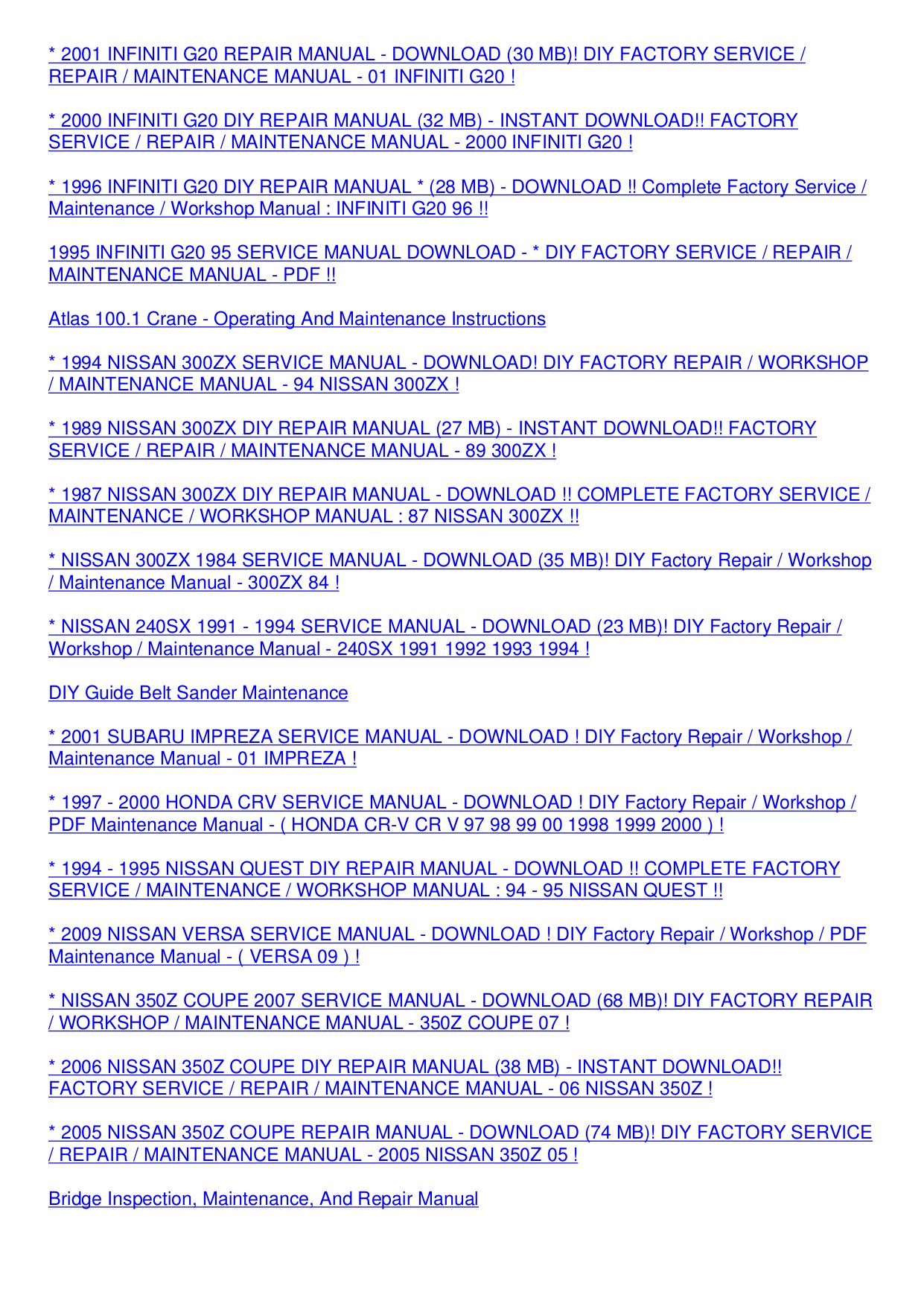 Nissan Quest 2005 Service Manual Recomended Car Infiniti G20 Repair Panasonic