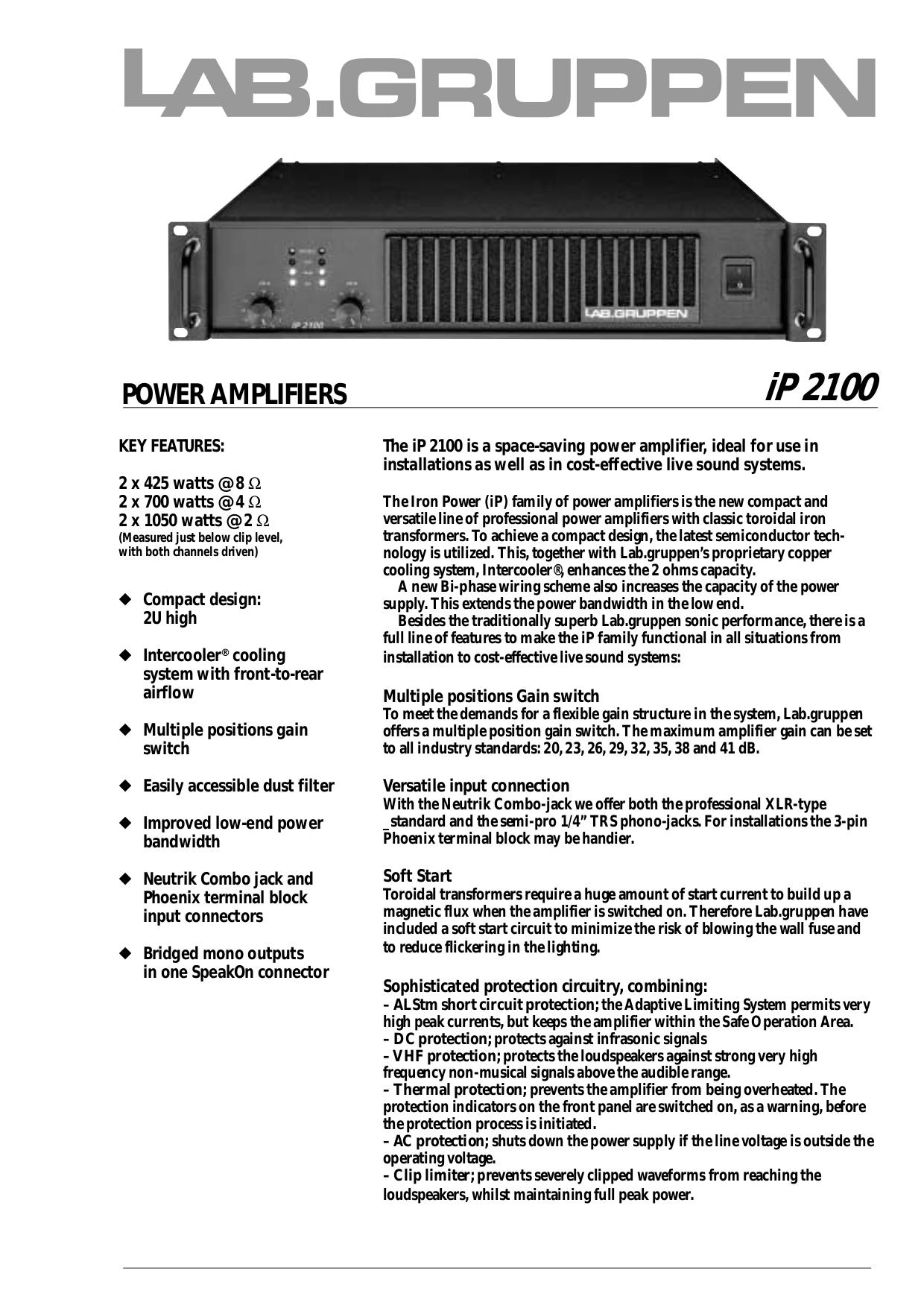 pdf for Lab.gruppen Amp LAB 2002 manual