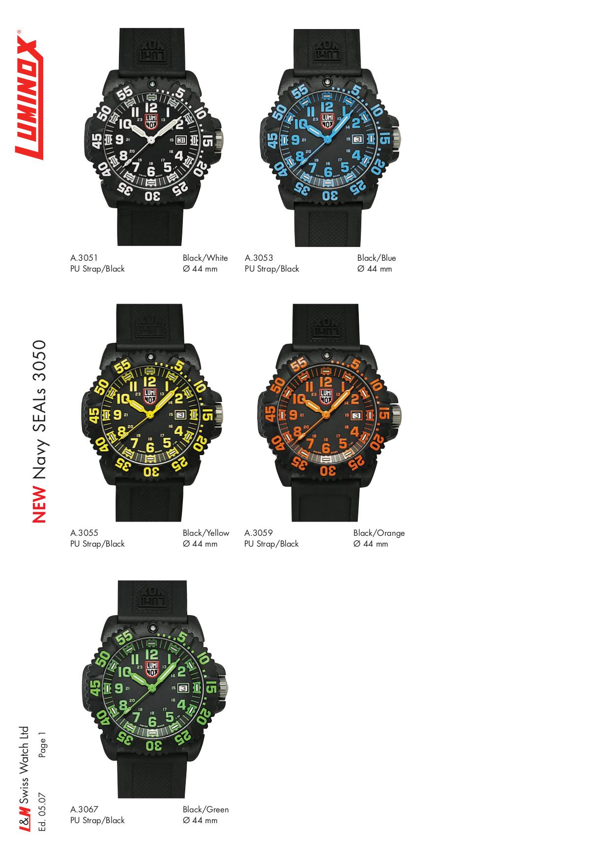 pdf for Luminox Watch EVO Navy SEAL 3055 manual