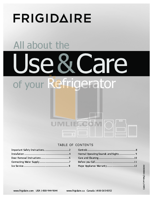 pdf for Frigidaire Refrigerator FRS20ZRG manual