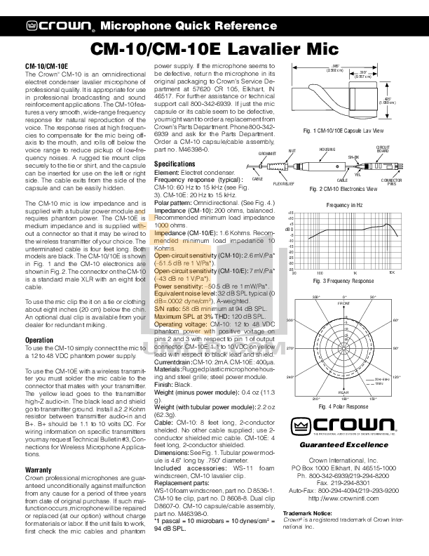 pdf for Crown Other CM-10E Microphone manual
