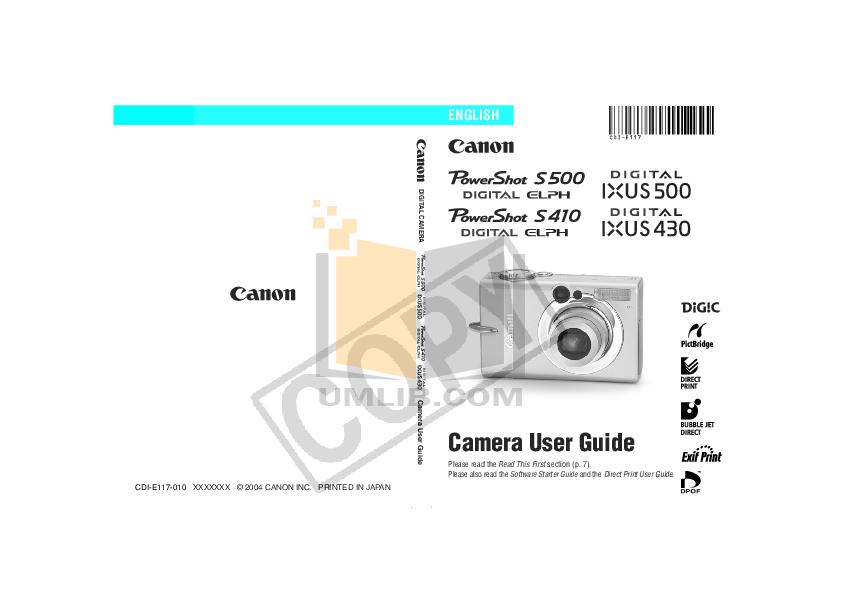 pdf for Canon Digital Camera Powershot ELPH 500 HS manual