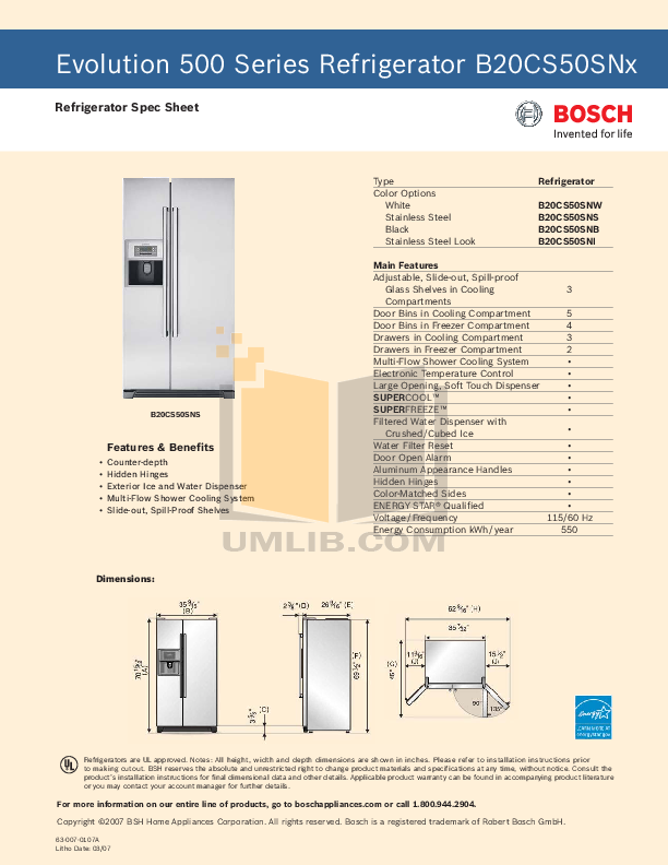 download free pdf for bosch evolution b20cs50sns refrigerator manual rh umlib com bosch refrigerator manual b20cs50sns Bosch Kitchen Appliances