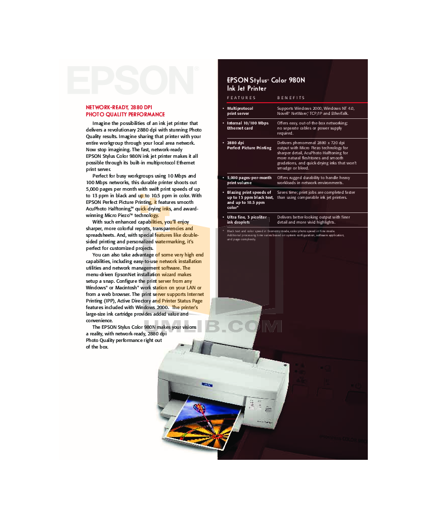 pdf for Epson Printer Stylus Color 980 manual
