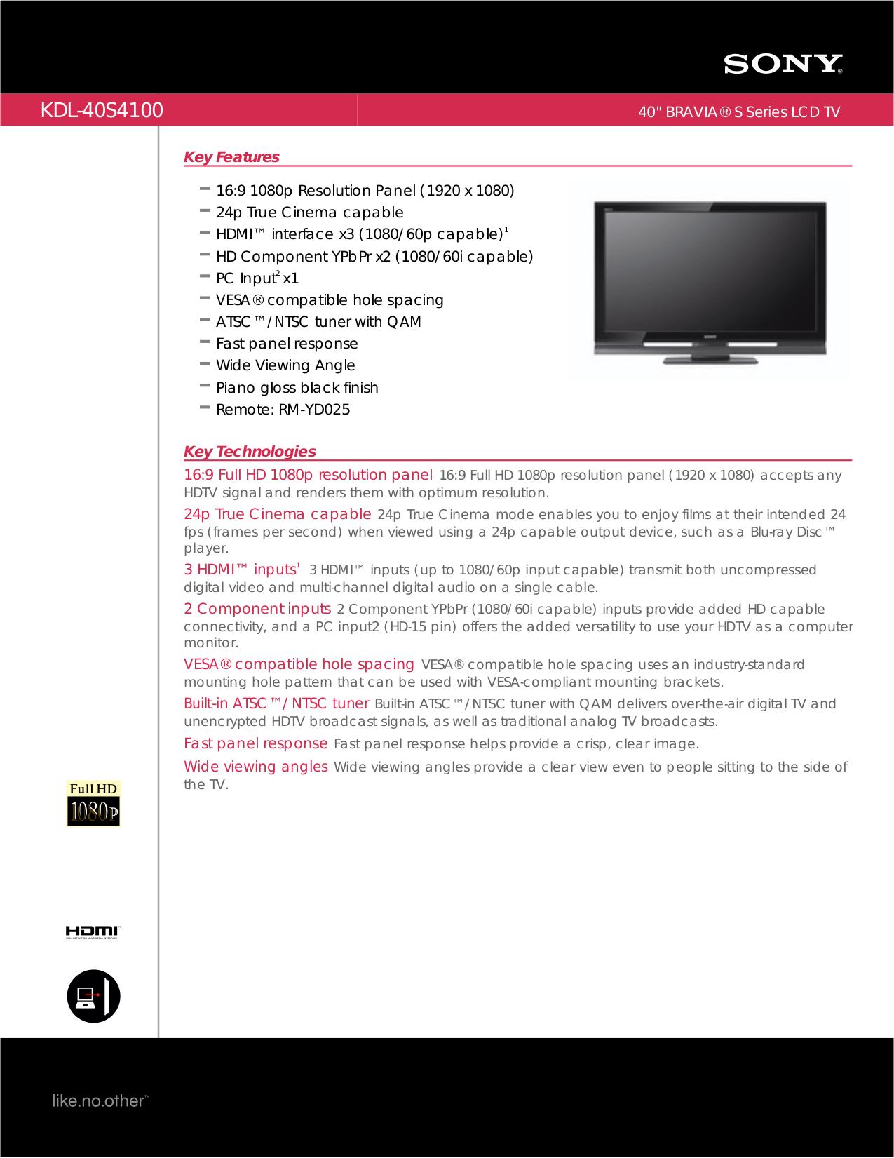 download free pdf for sony bravia kdl 40s4100 tv manual rh umlib com Sony KDL 42Ex440 sony bravia 40s4100 manual