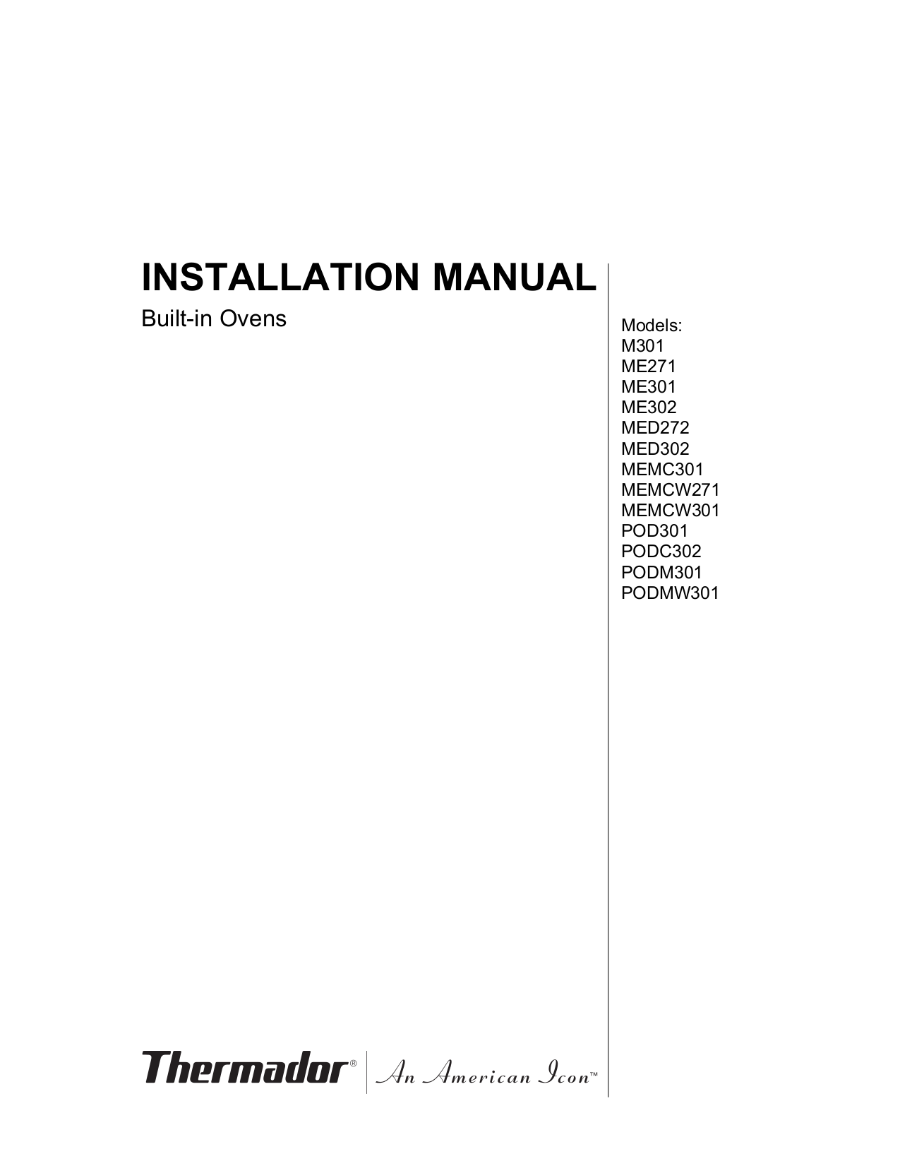 pdf for Thermador Oven PO301 manual