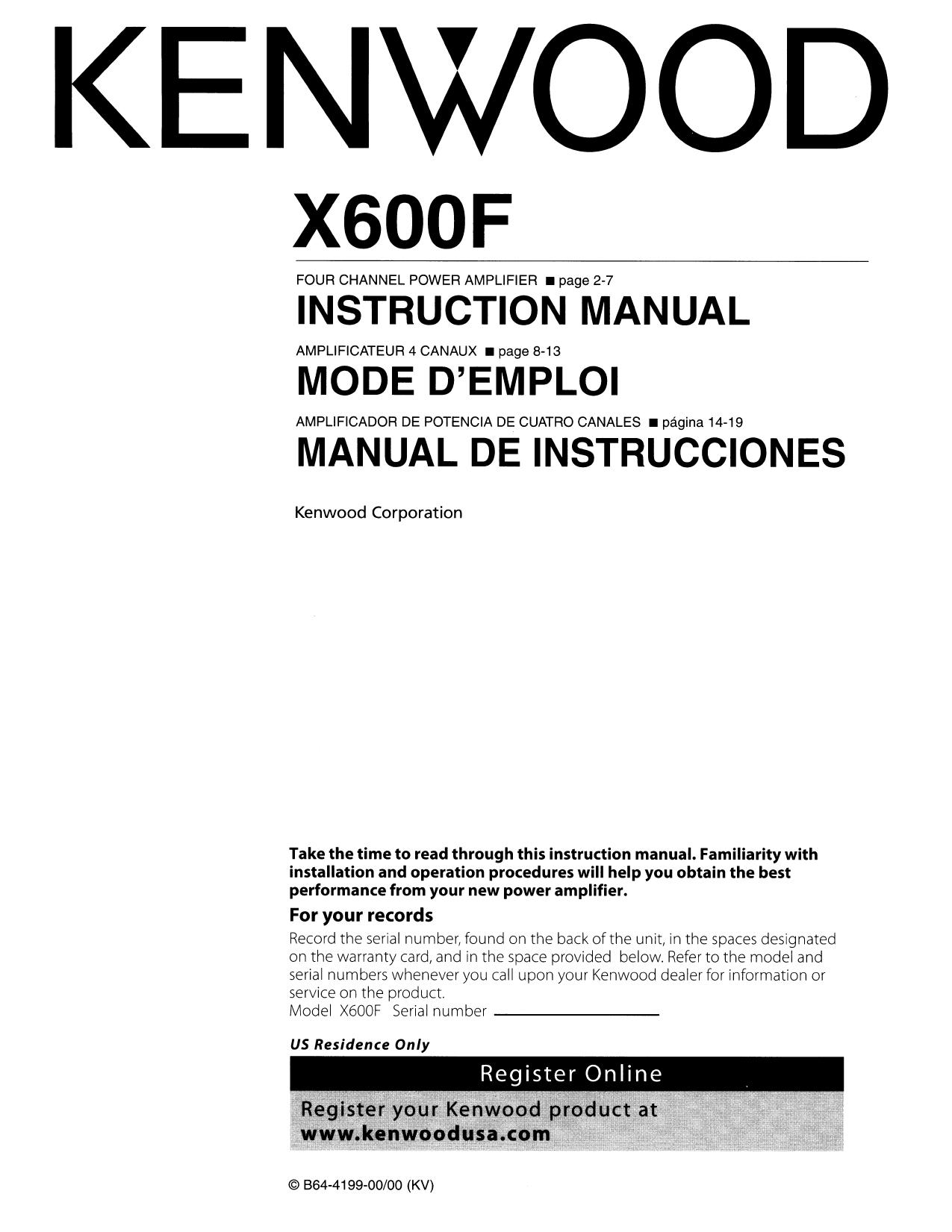 Download free pdf for Kenwood eXcelon X600F Car Amplifier manual – Kenwood Wiring Diagram Pdf