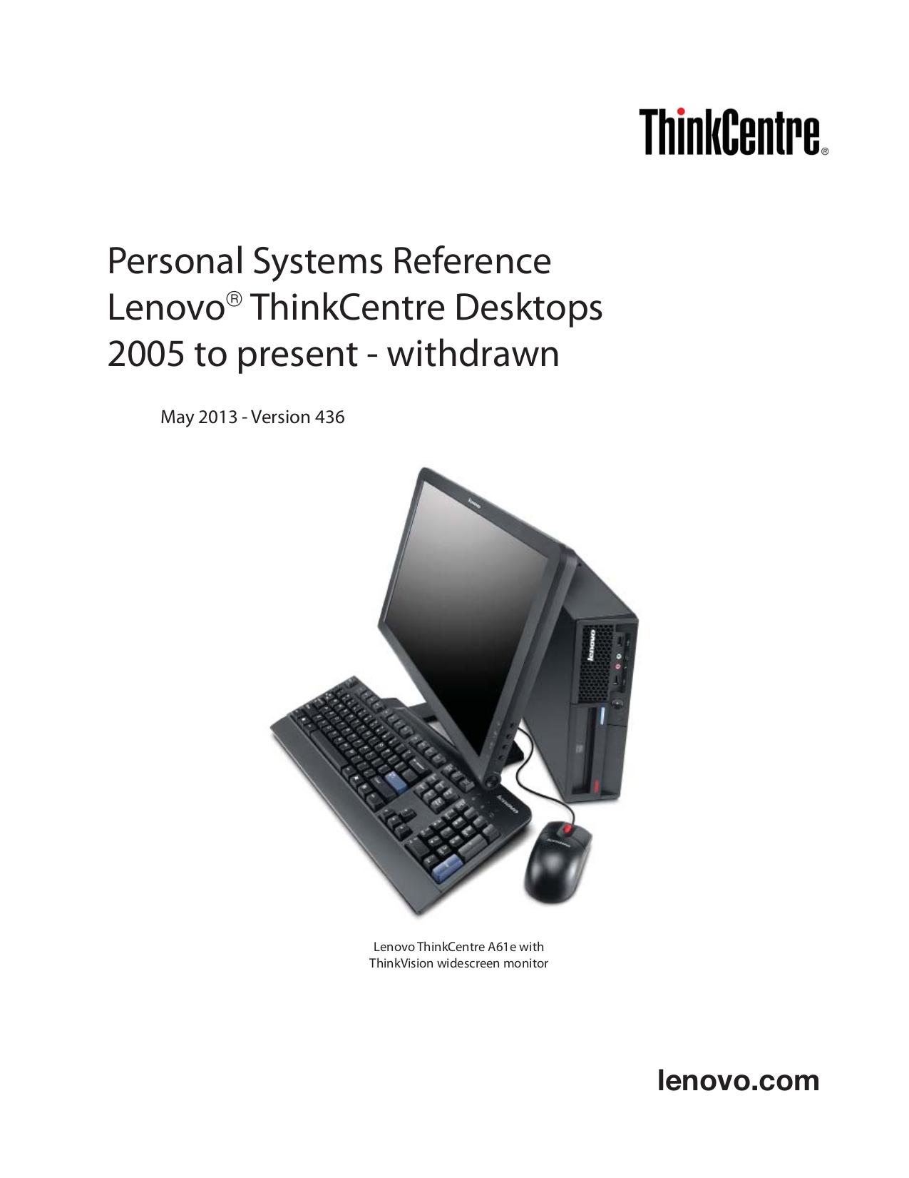 pdf for Lenovo Desktop ThinkCentre M55e 9645 manual