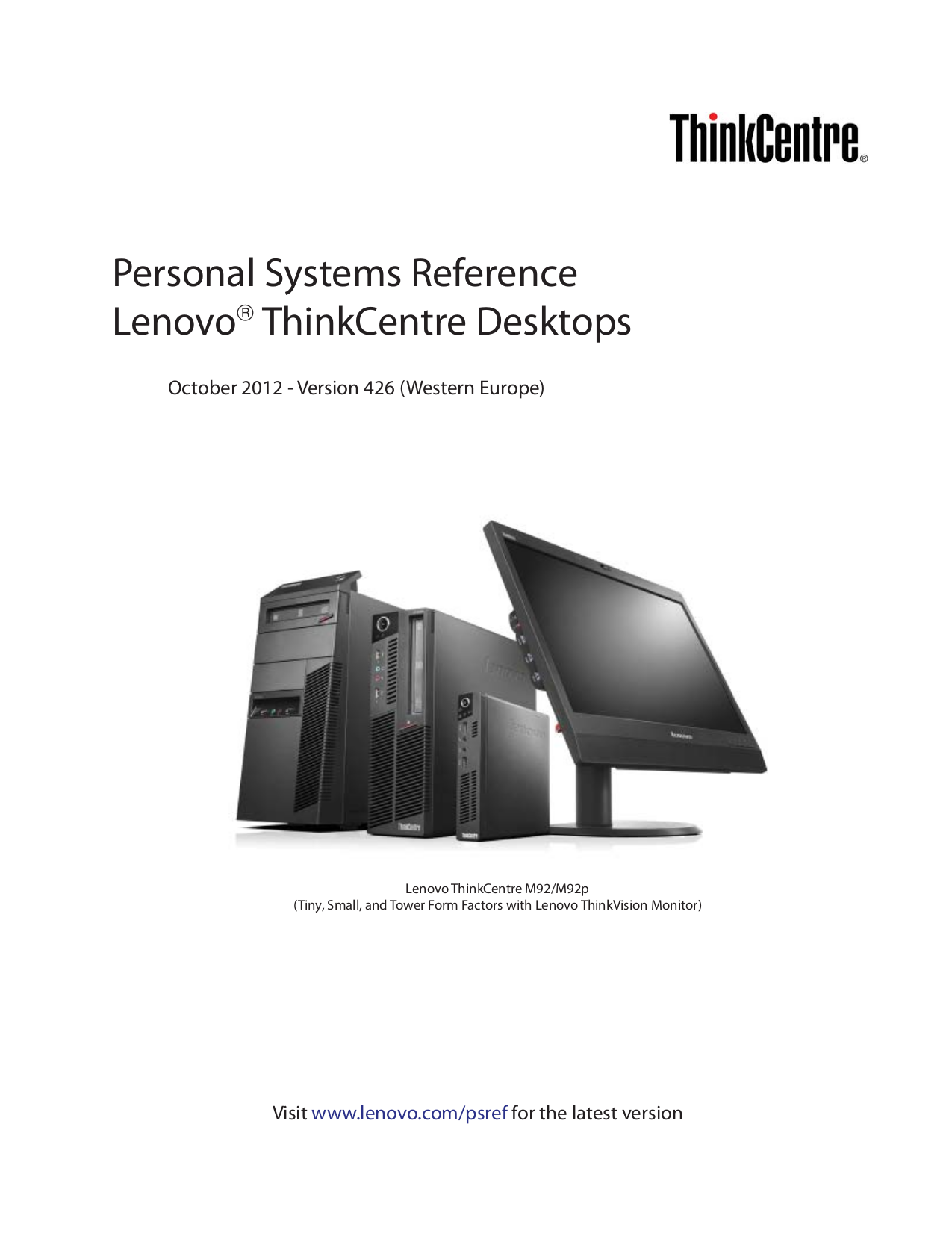 pdf for Lenovo Desktop ThinkCentre M91p 4524 manual
