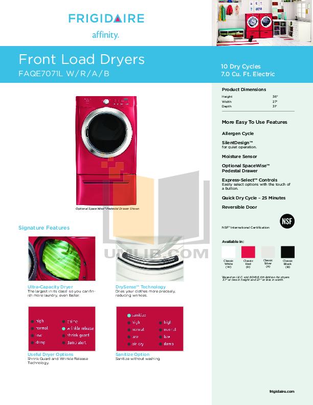 pdf for Frigidaire Dryer Affinity FAQE7071L manual