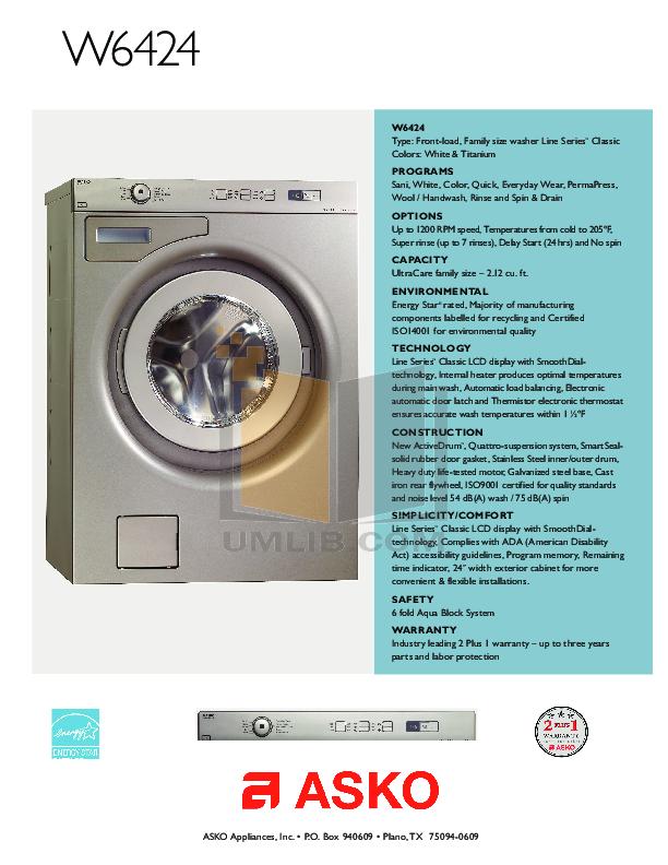 pdf manual for asko washer w6424 rh umlib com User Manual User Guide Template