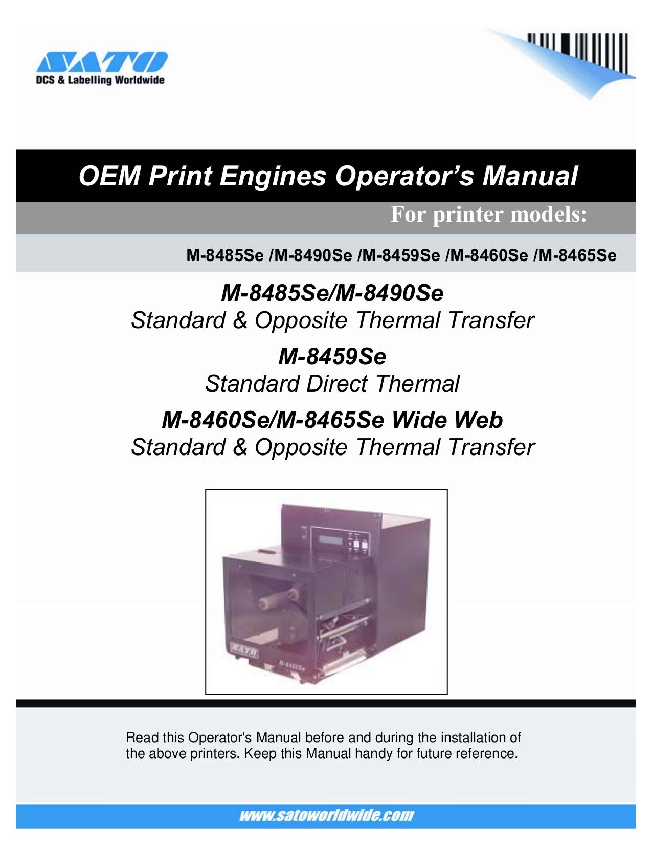 download free pdf for sato m8485se printer manual rh umlib com sato 8485se manual pdf sato m8485se service manual
