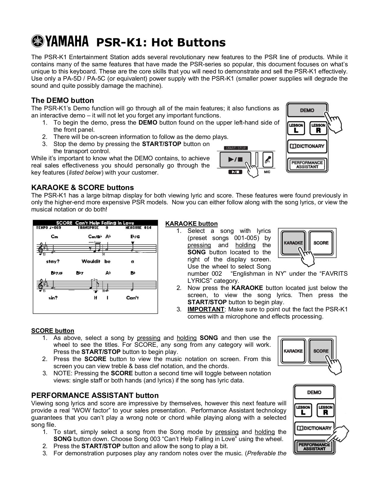 pdf for Yamaha Music Keyboard PSR-K1 manual