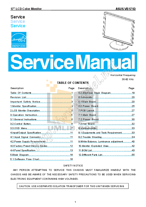pdf for Asus Monitor VB171 manual