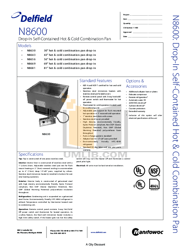 pdf for Delfield Other N8630 Hot and Cold Pans manual