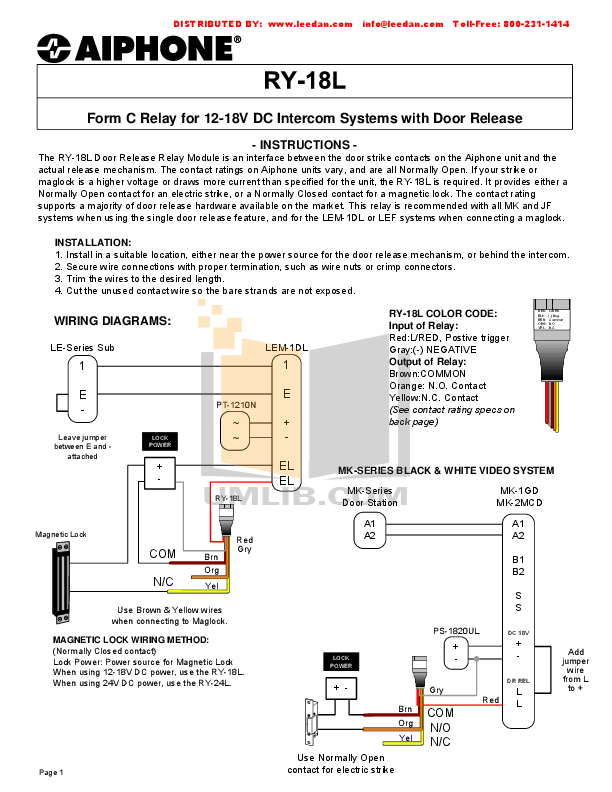 Aiphone Other MK-1GD Intercoms pdf page preview