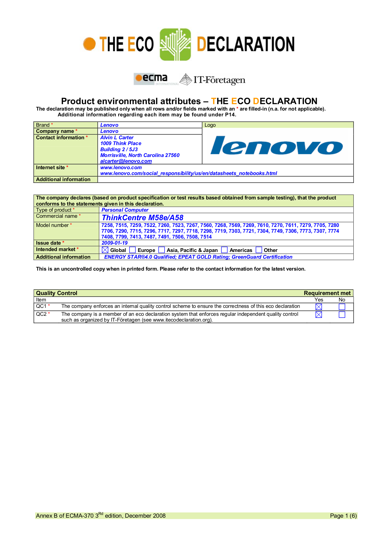 pdf for Lenovo Desktop ThinkCentre M58e 7514 manual