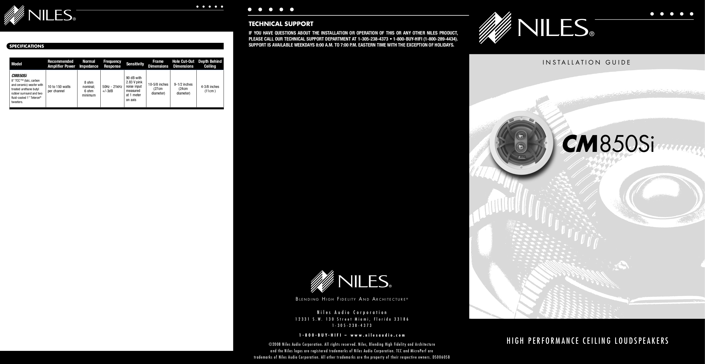 pdf for Niles Speaker CM850Si manual