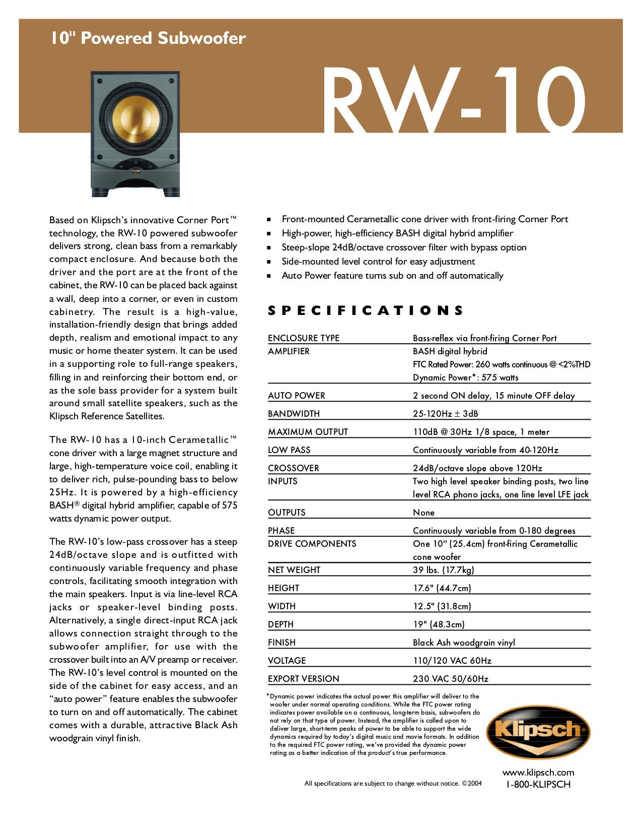 Download free pdf for klipsch rsw-10 subwoofer manual.
