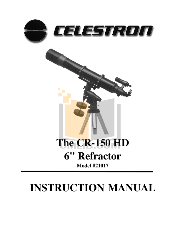 pdf for Celestron Other CR-150-HD Refractor manual