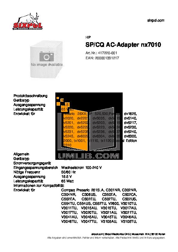 pdf for HP Laptop Pavilion DV5231 manual