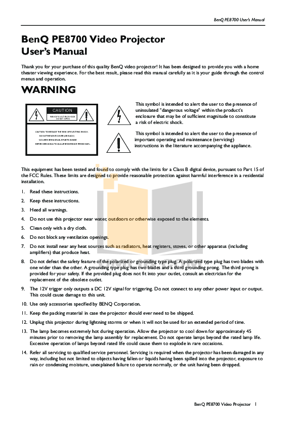 pdf for Benq Projector DS660 manual