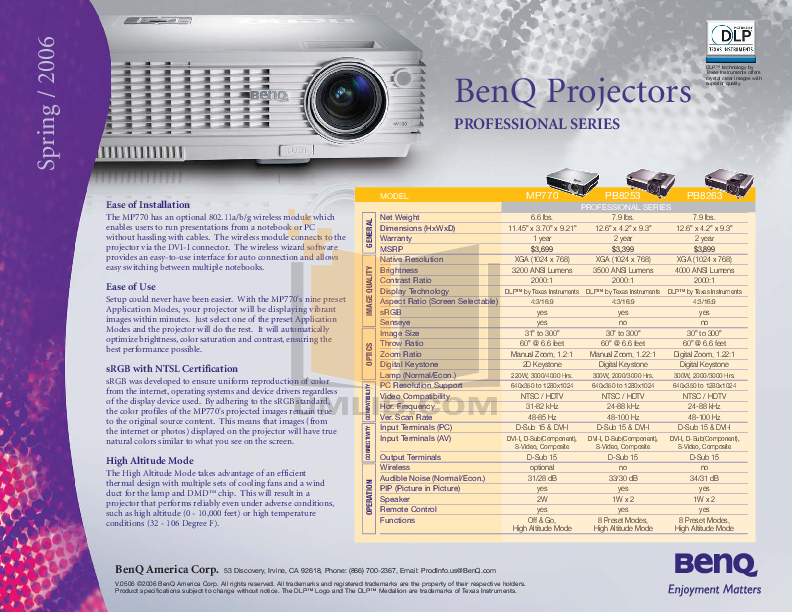 pdf for Benq Projector MP770 manual