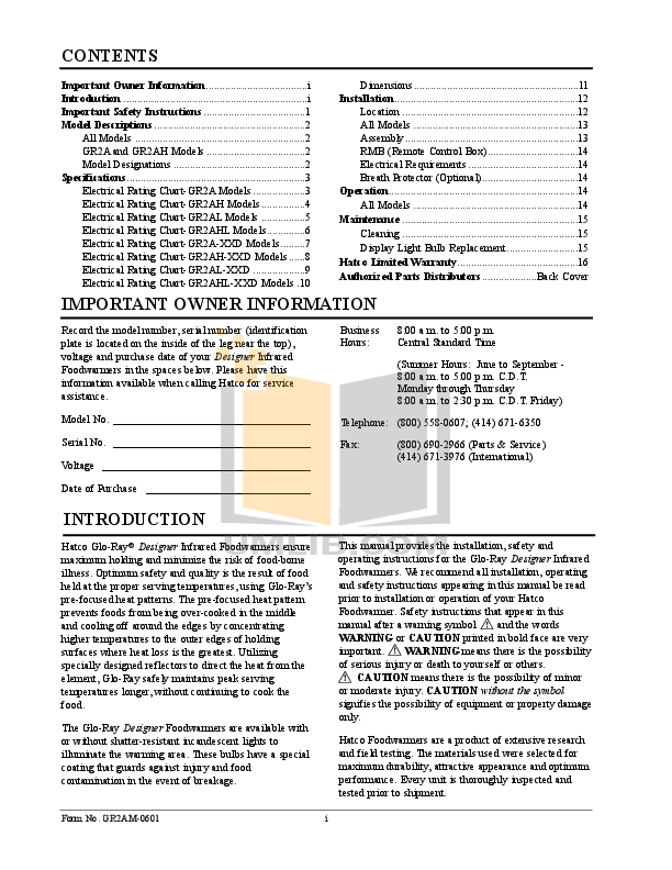 Hatco Other GR2AHL-60D pdf page preview